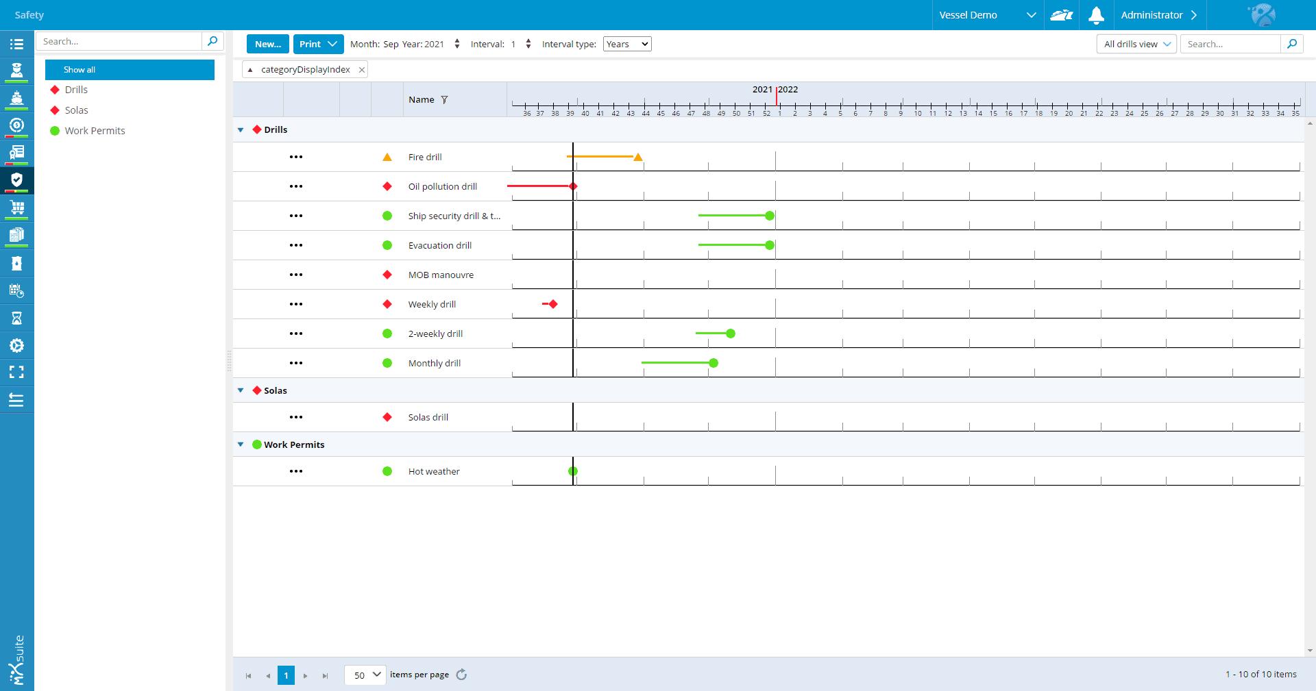 MXSuite Veiligheidsmodule - Kalenderoverzicht oefeningen trainingen