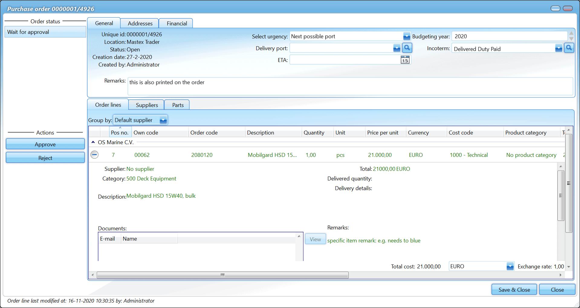 Inköp - orderinformation